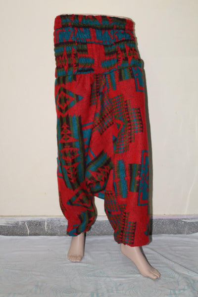 Harem Printed Woolen Trousers