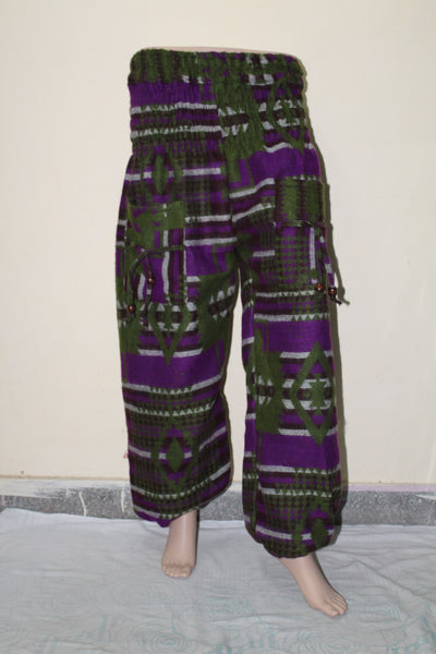 Cuffed Woolen Printed Casual Trousers