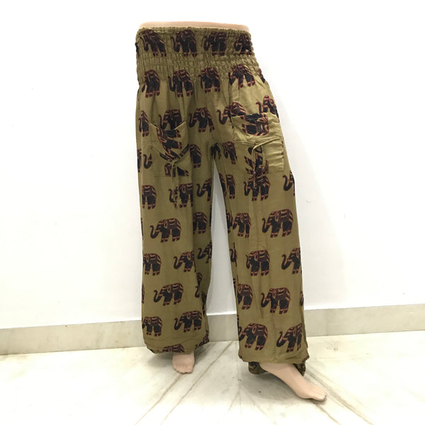 Cuffed Elephant Print Casual Trousers