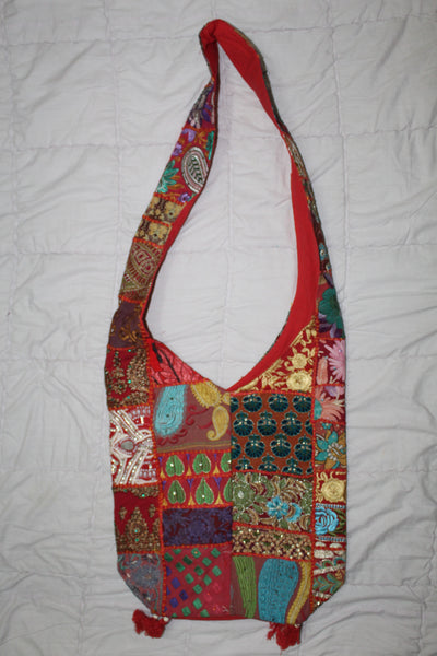 Patchwork Embroidered Cotton Sling Bag