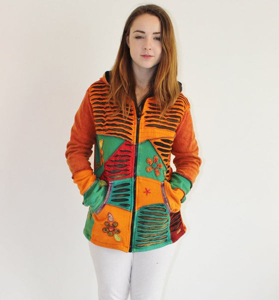 Orange Textured And Floral Patchwork Hoodie