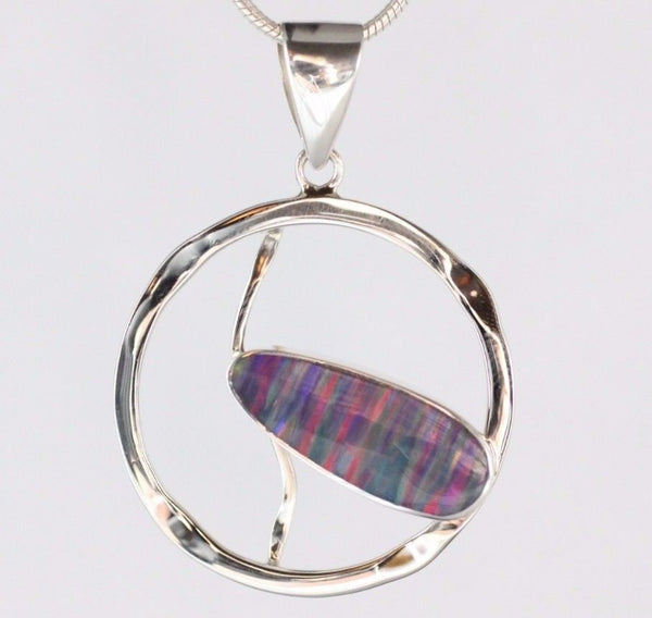 AAA Japanese Cultured Purple Opal Pendant 925 Sterling Silver Necklace Jewellery