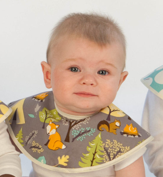 Premium Organic Cotton Bib - Forest Friends & Yellow Pebbles