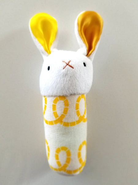 Organic Cotton Bunny Rattle - Yellow