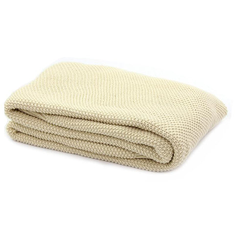 Organic Cotton Knitted Throw Blanket - Ivory
