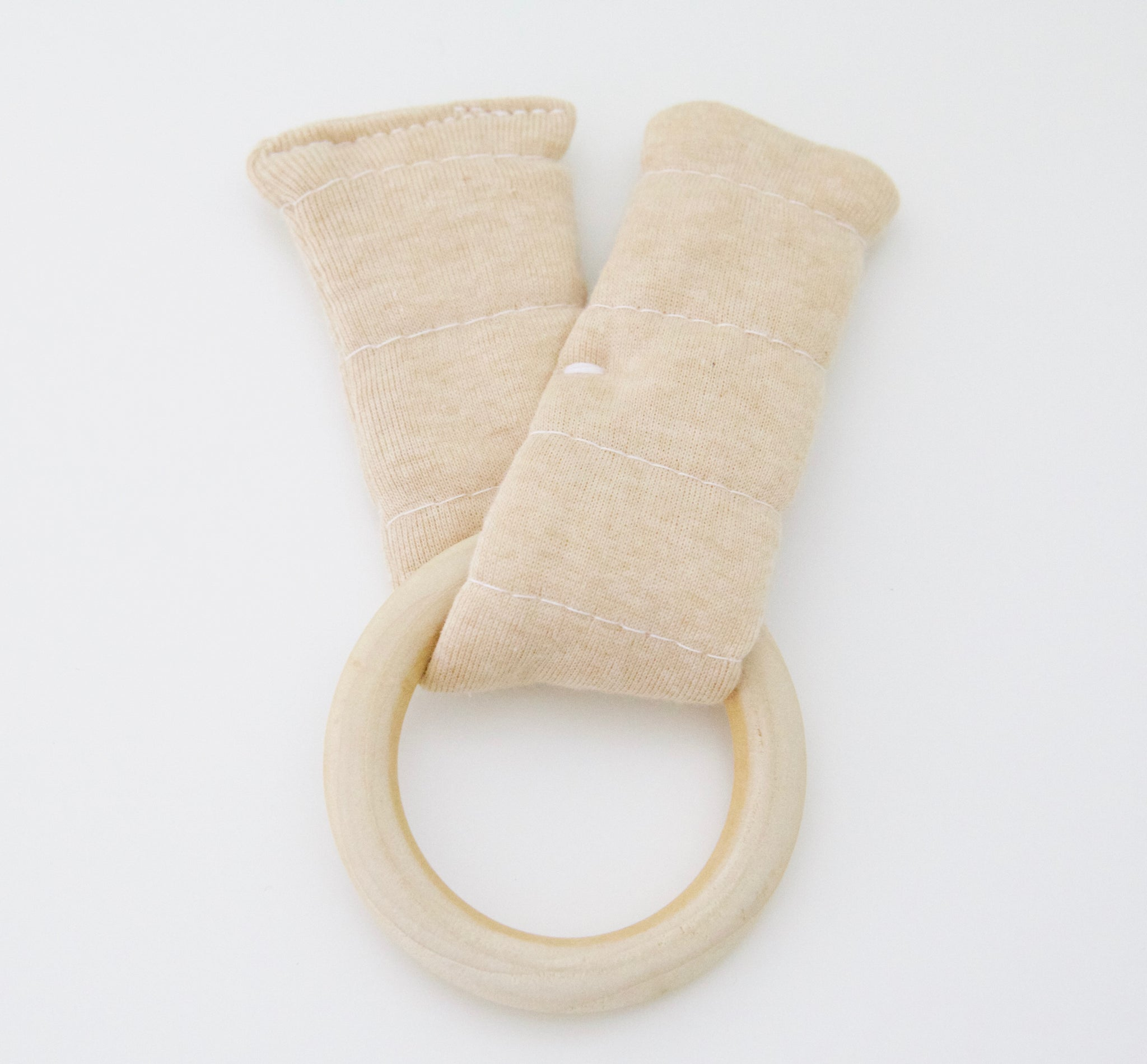 Wood & Organic Cotton Teething - Tan