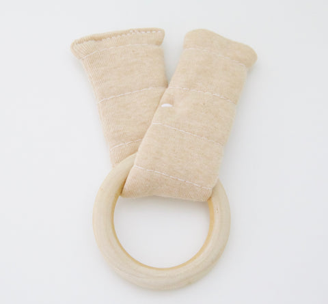 Wood & Organic Cotton Teething Rattle - Tan