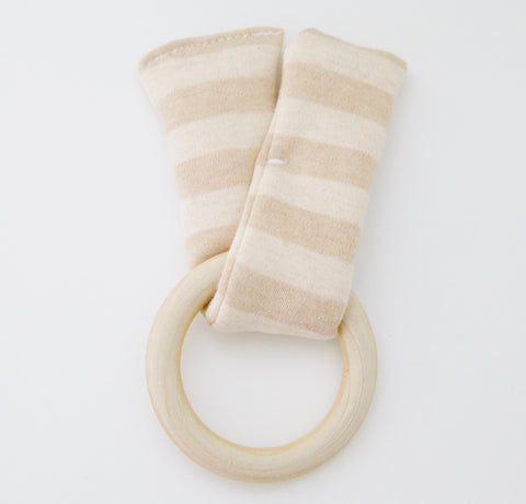 Wood & Organic Cotton Teething Rattle - Wide Stripe