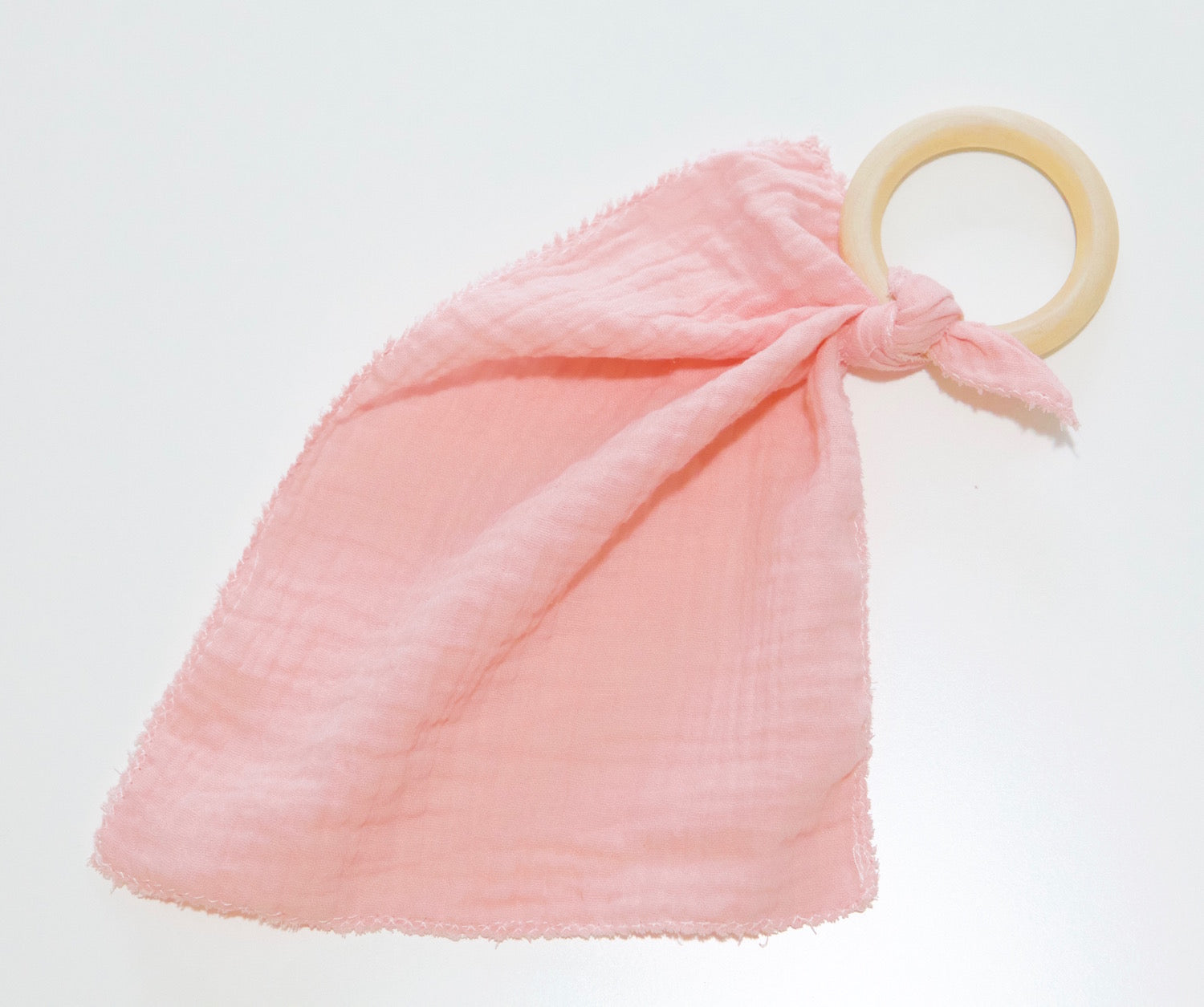 Wood & Organic Cotton Ring Lovey - Pink