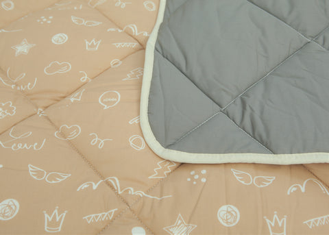 Organic Cotton Play Mat/Quilted Blanket - Solid Gray/Love Hazelnut