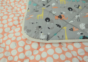 Organic Cotton Play Mat/Quilted Blanket - Safari Dream/Pink Pebbles