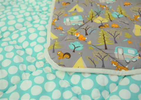 Organic Cotton Play Mat/Quilted Blanket - Forest Friends/Mint Pebbles
