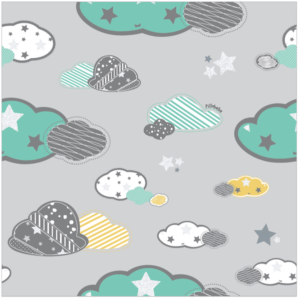 Organic Cotton Play Mat/Quilted Blanket - Dreamy Sky/Love Gray