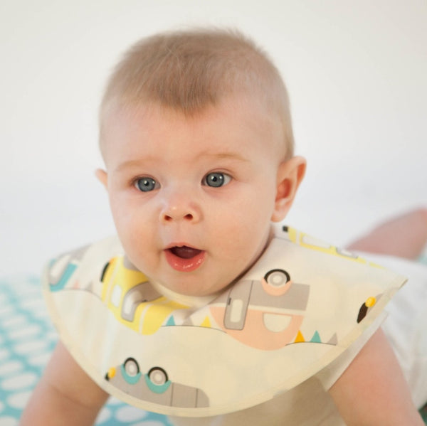 Premium Organic Cotton Bib - Mint Pebbles & Cars