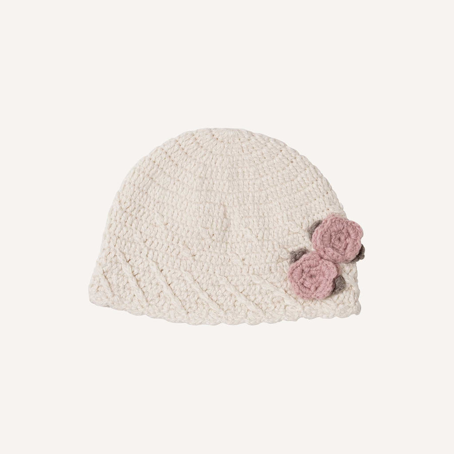 Cream Vintage Beanie with Pink Flowers