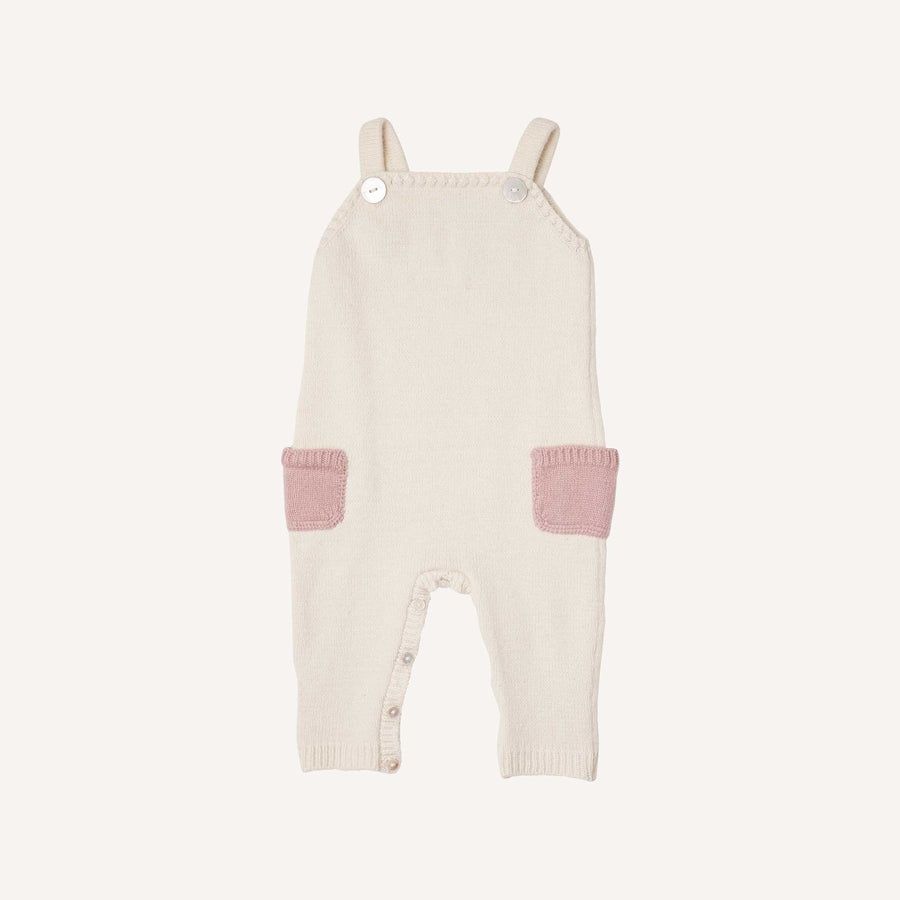 Cream and Pink Knitted Dungarees