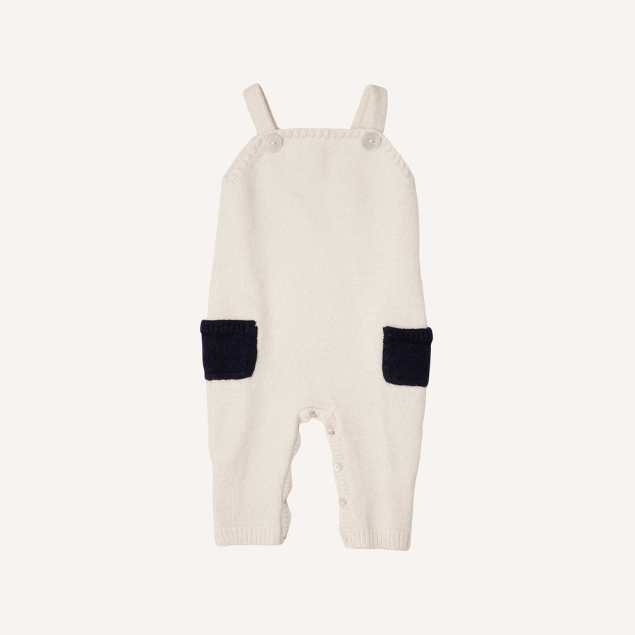 Cream and Navy Knitted Dungarees