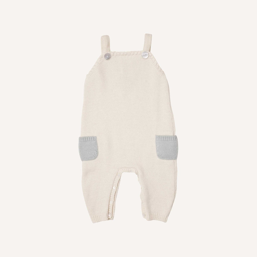 Cream and Light Blue Knitted Dungarees