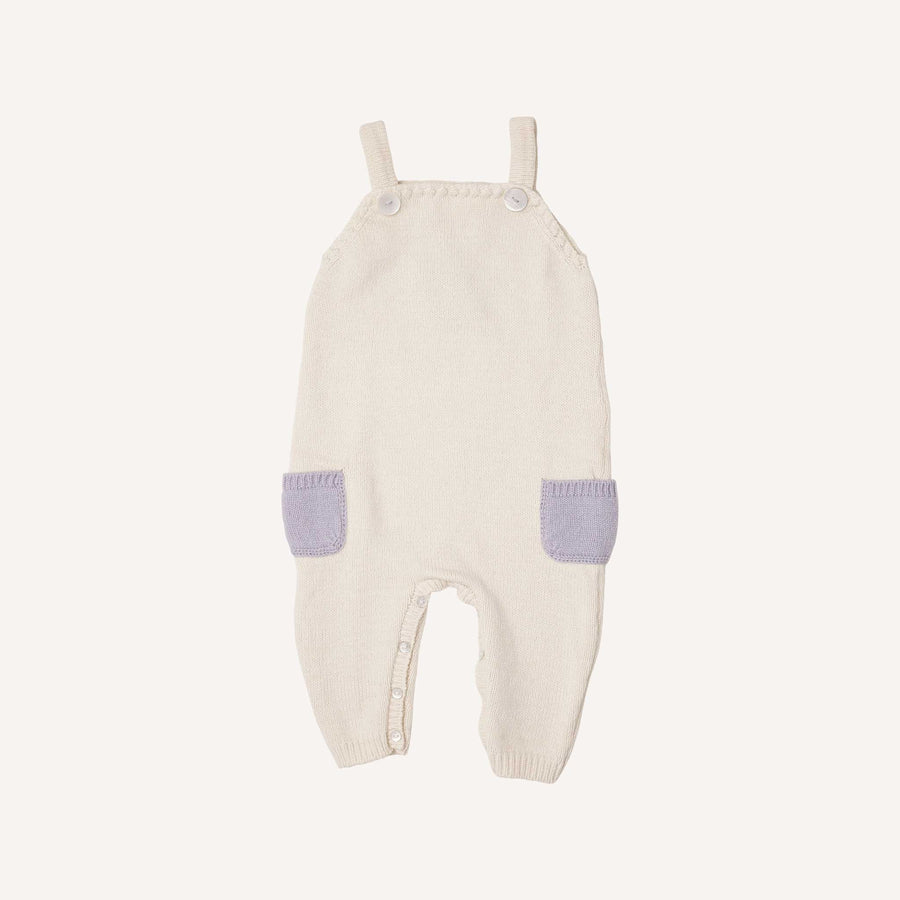 Cream and Lavender Knitted Dungarees