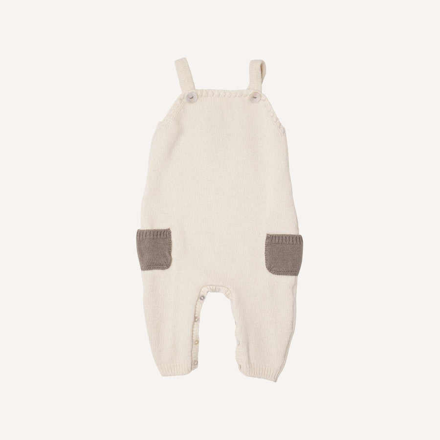 Cream and Silver Knitted Dungarees