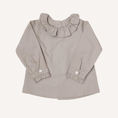 Silver Long Sleeve Ruffle