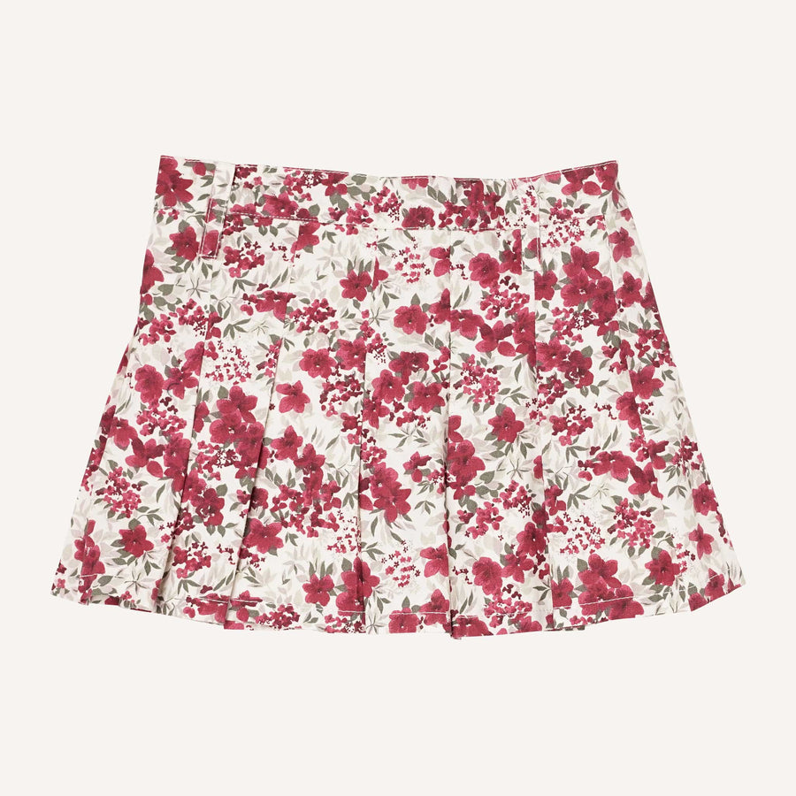 Bordeaux Floral Pleated Skirt