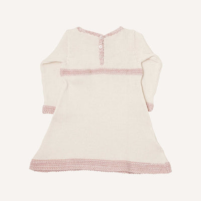 Cream and Marl Pink Vintage Dress