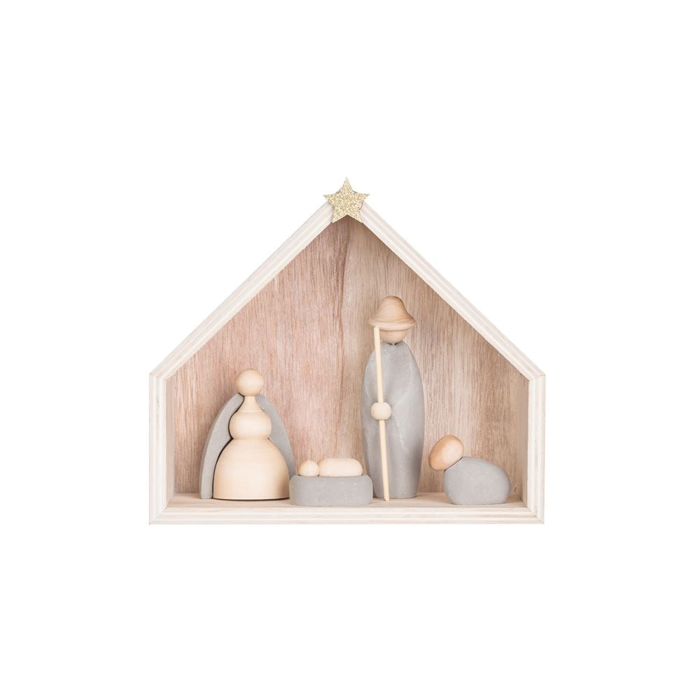 Wood Nativity Cement