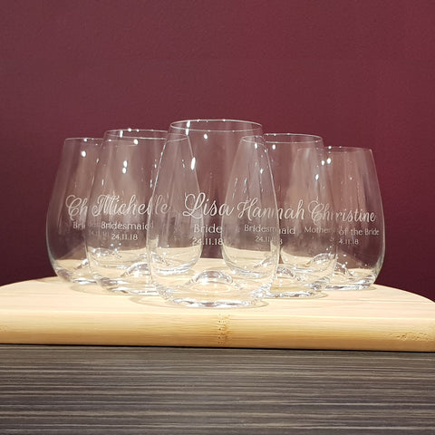 Bridesmaid Personalised Stemless wine glasses Set