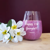 21st Birthday Personalised Stemless Wineglass