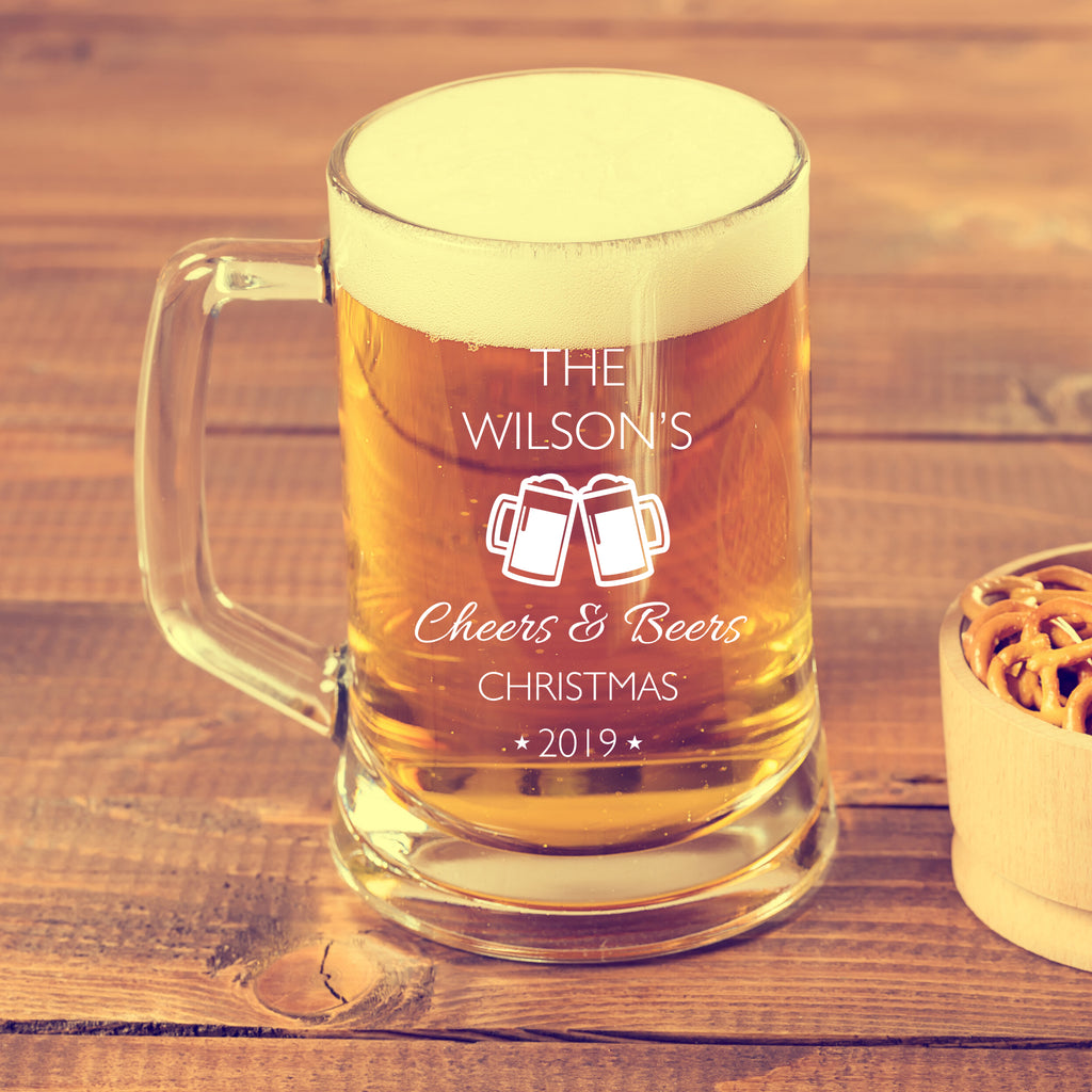 Personalised Beer Mug as Christmas Gift - Cheers & Beers