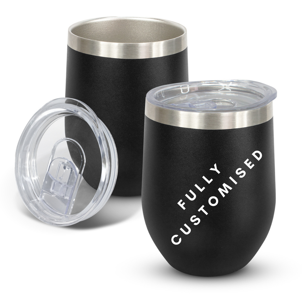 Fully Customised Stainless Steel Black Tumbler - Powder Coated - Vacuum Insulated