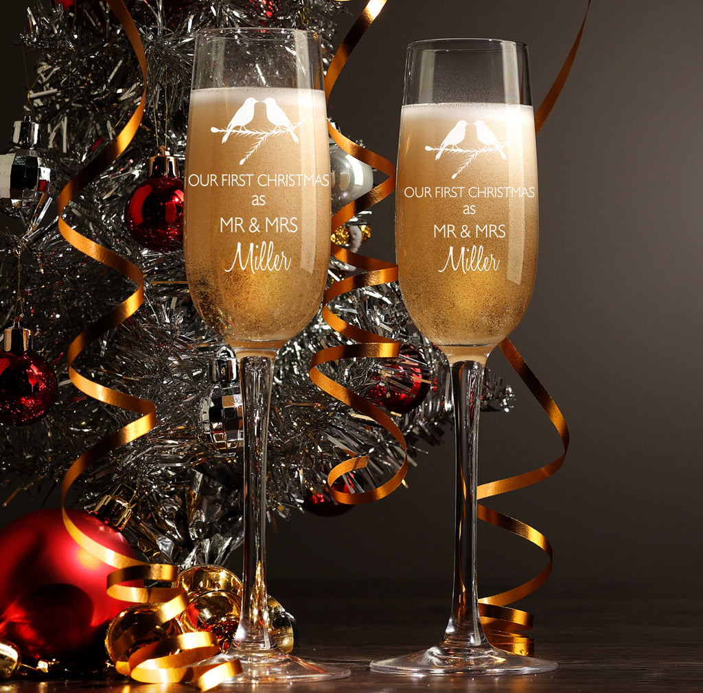 Personalised Champagne Flutes as Christmas Present