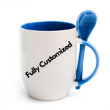 Fully Customized Mug with Spoon - White and Blue Colour