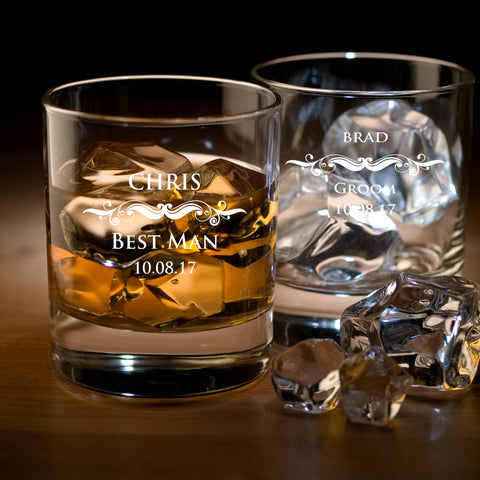Groomsmen Round Whiskey Glasses Personalised