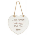 Natural Hanging Happy Family Heart-Shaped Sign