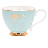 Blue and Gold Rounded Boss Lady Tea Cup
