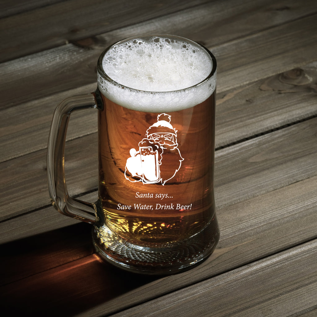 Personalised Beer Mug as Christmas Gift - Santa says... Save Water, Drink Beer!