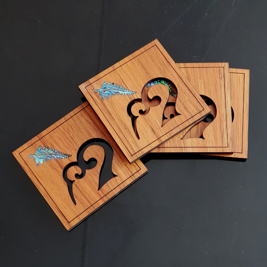 Kiwi Coaster Set, Cut out doubles as stand