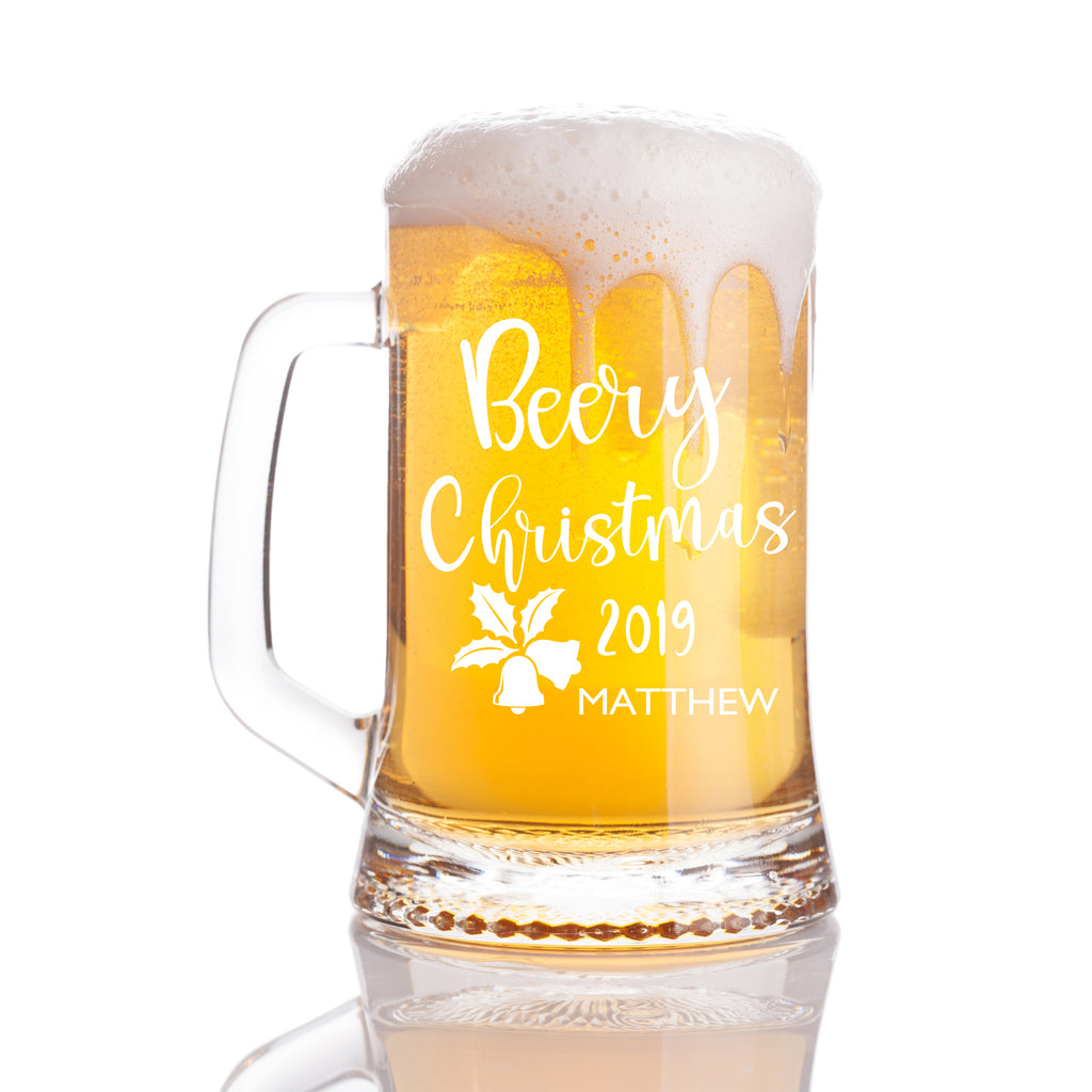Personalised Beer Mug as Christmas Gift - Beery Christmas 2019