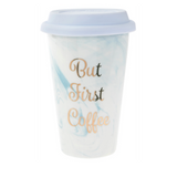 Marble Made First Coffee Travel Mug with Writing in Gold Colour
