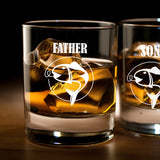 Father's Day Fishing Whiskey Glass Set of 2