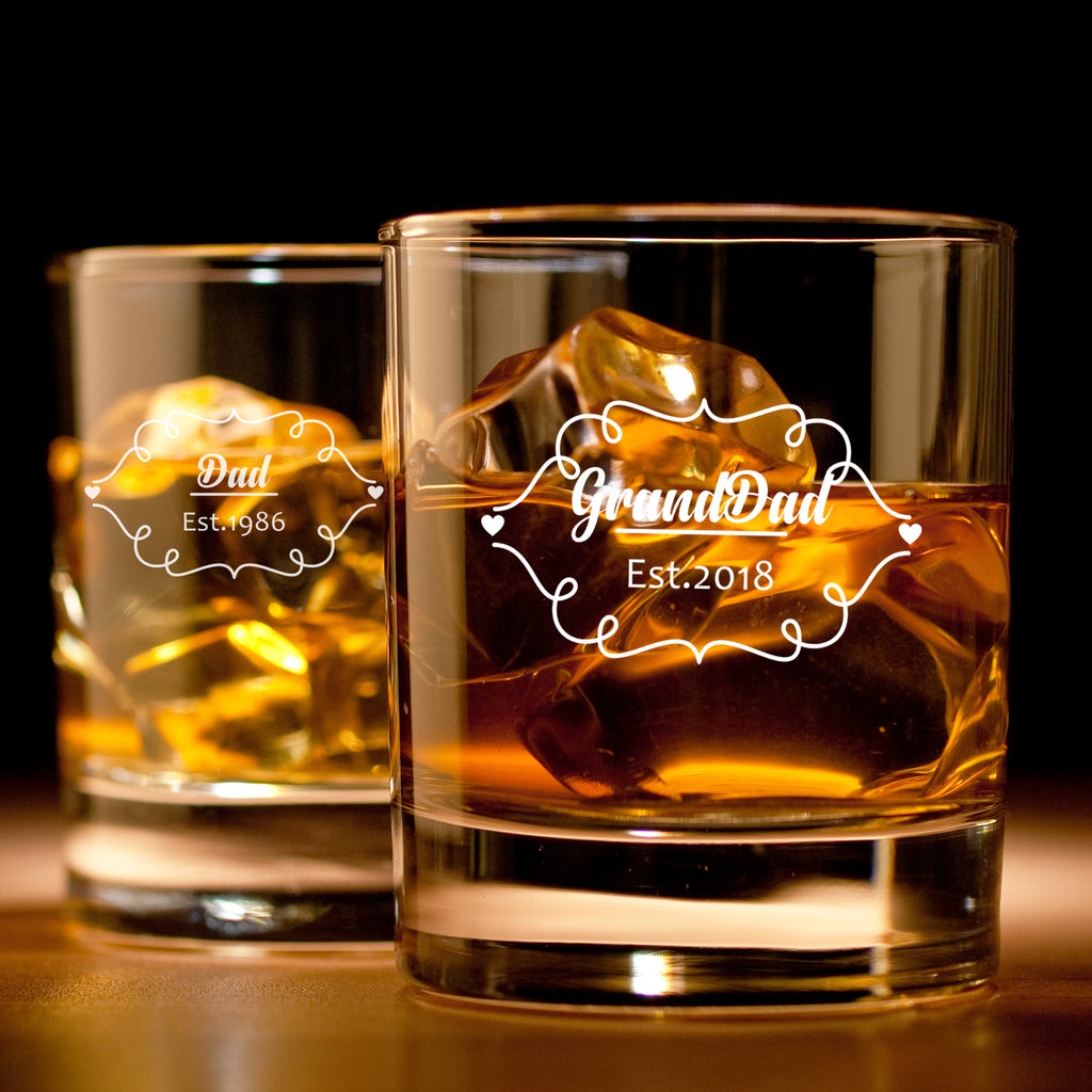Dad Est. and Granddad est. - Father's day whiskey glass set of 2
