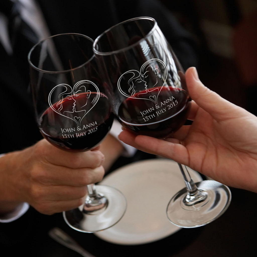 Wedding Gifts Nz: Red Wine Glasses Personalised Wedding Toast Glasses