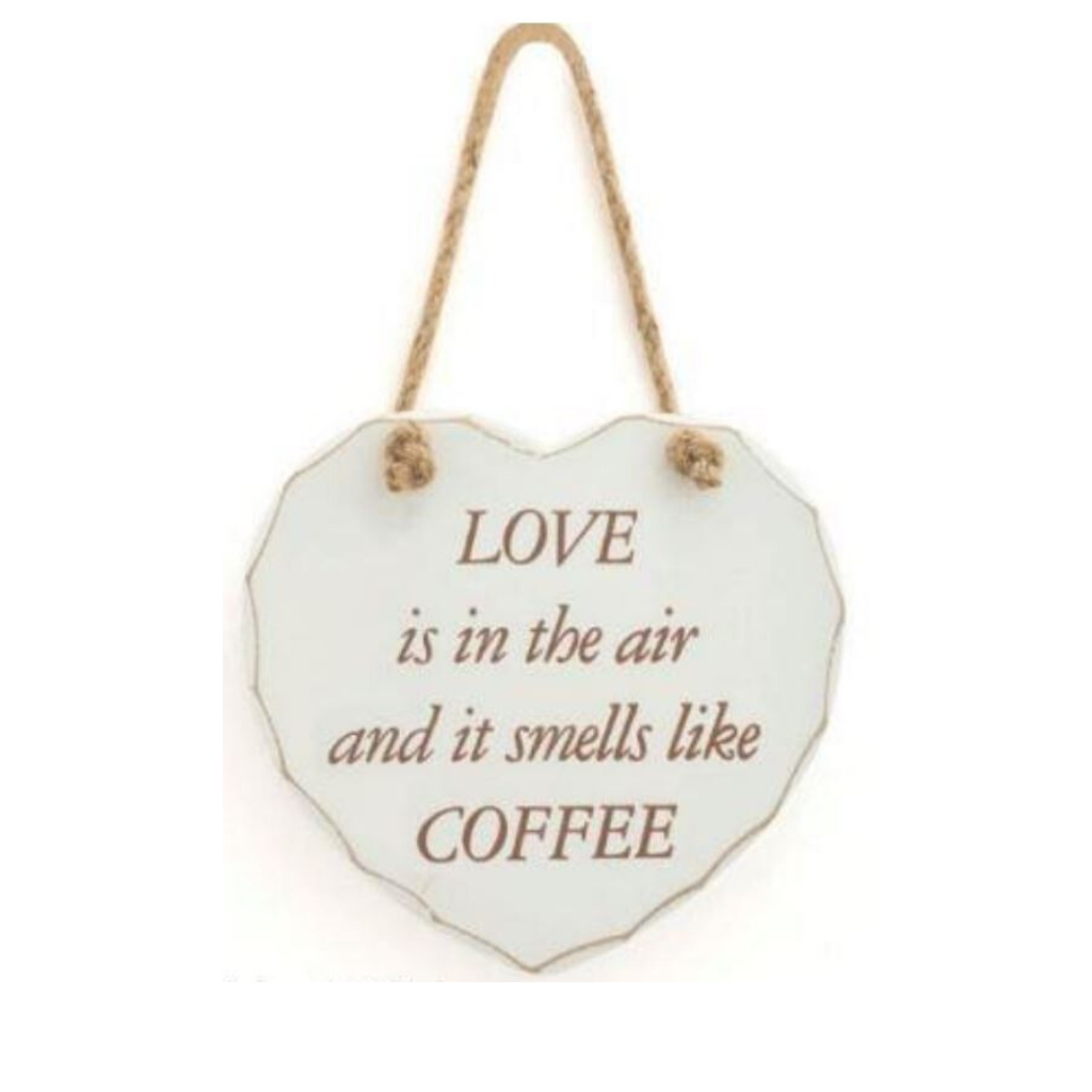 Hanging Heart Shaped Love Wooden Sign