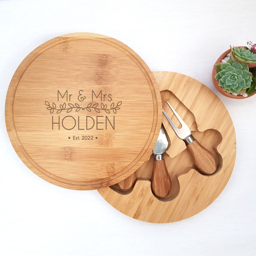 Personalised Wooden Cheese Board - Wedding or Anniversary Gift