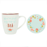Floral and Teal Ceramic Mug Set