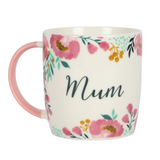 Floral Decorated Pink and Teal Coffee Mug