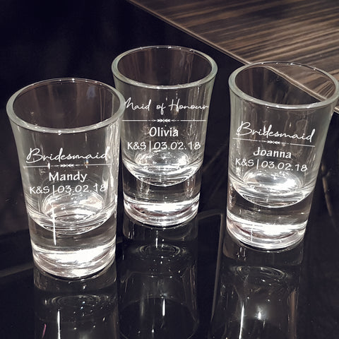 Bridesmaid Shot Glass Wedding Favors