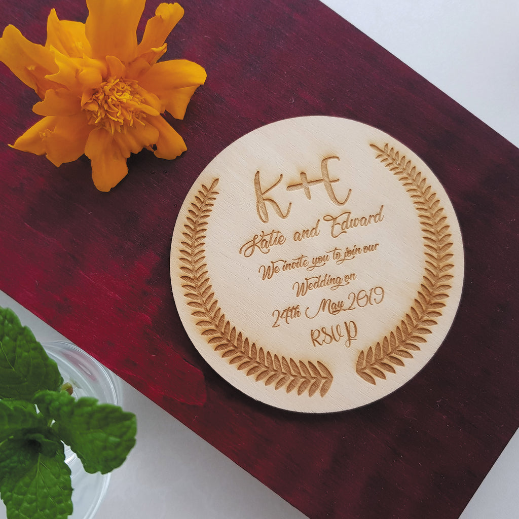 Personalised wooden coasters as wedding invitations (Set of 10)
